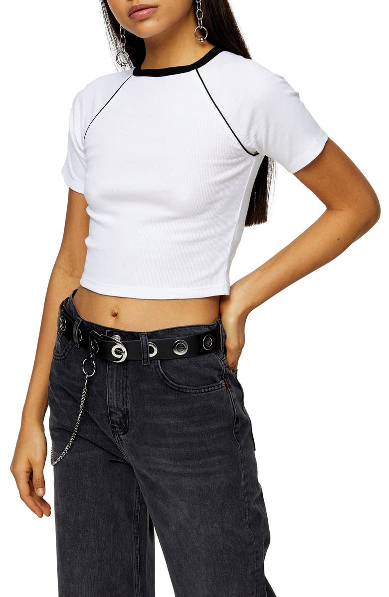 TOPSHOP Contrast Piping Crop Tee, Main, color, WHITE MULTI