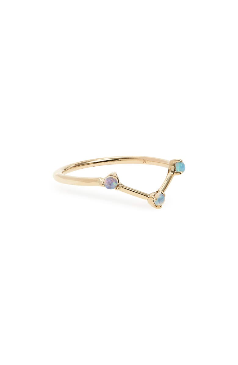 WWAKE Counting Collection Three-Step Triangle Opal Ring, Main, color, YELLOW/ GOLD