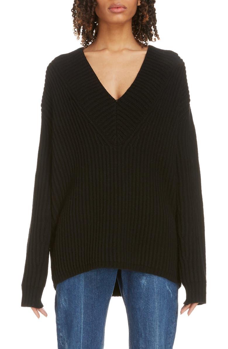 ACNE STUDIOS Keborah V-Neck Wool Sweater, Main, color, BLACK
