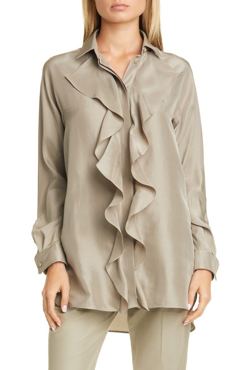 MAX MARA Tefrite Silk Tunic Shirt, Main, color, STONE
