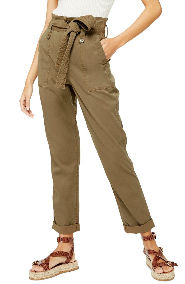 TOPSHOP Rory Paperbag Waist Utility Trousers, Main, color, LIGHT OLIVE