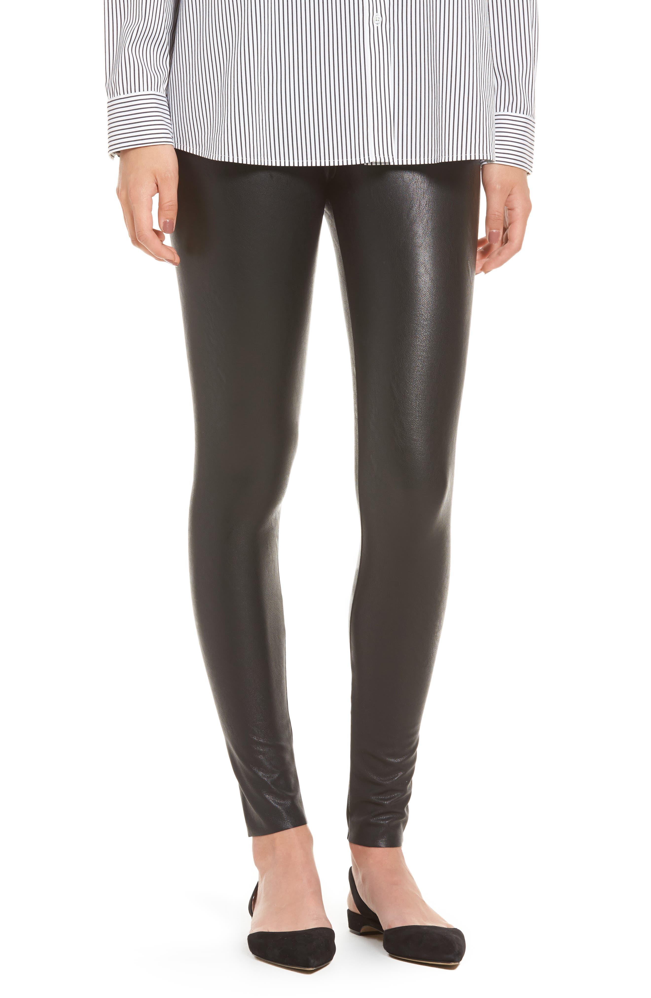 Perfect Control Faux Leather Leggings, Main, color, BLACK
