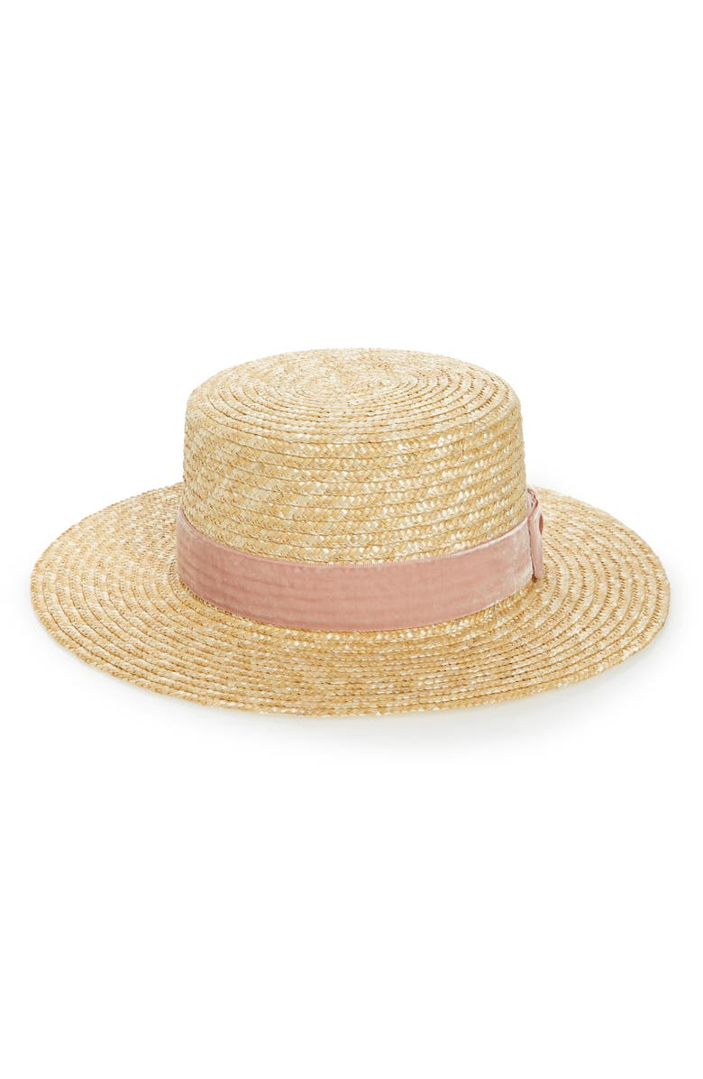 LACK OF COLOR Pink Velour Straw Hat, Main, color, 200