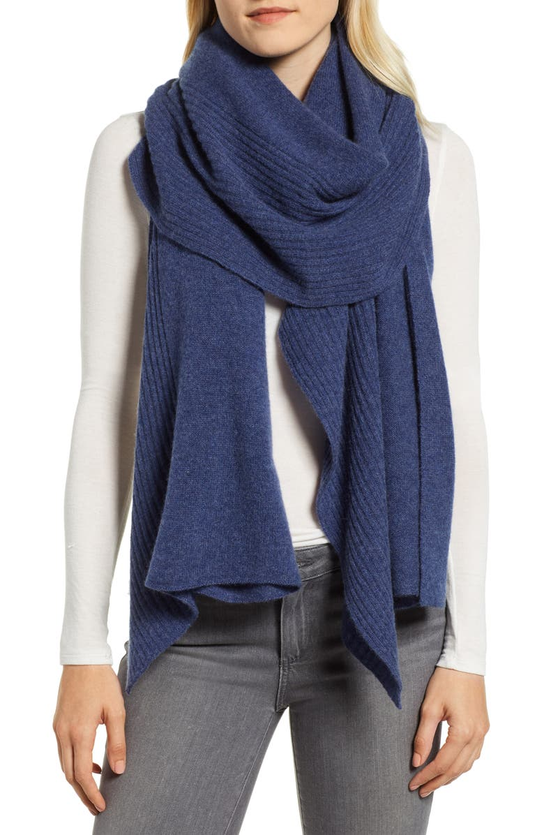 NORDSTROM Cashmere Ruffle Wrap, Main, color, 400