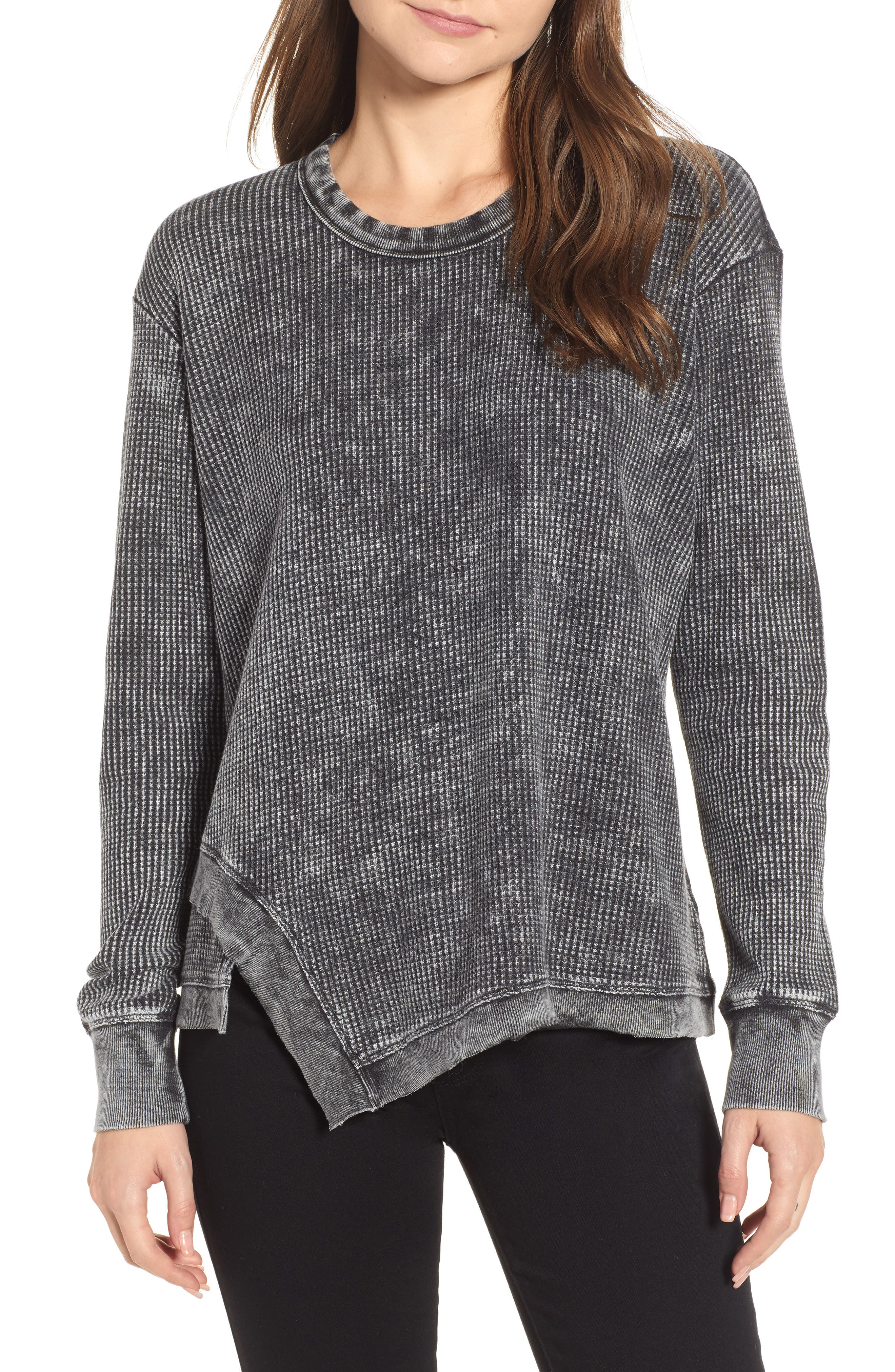 Splendid Aurora Thermal Sweatshirt, Black