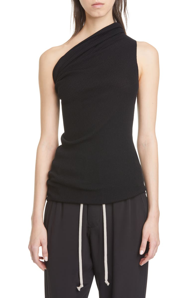RICK OWENS One-Shoulder Ribbed Wool Tank, Main, color, 09 BLACK