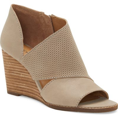 Lucky Brand Jedrek Perforated Open Toe Wedge Bootie, Grey