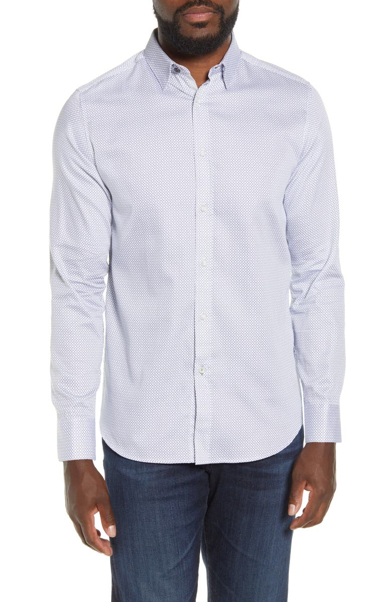 TED BAKER LONDON Slim Fit Geo Print Button-Up Shirt, Main, color, WHITE