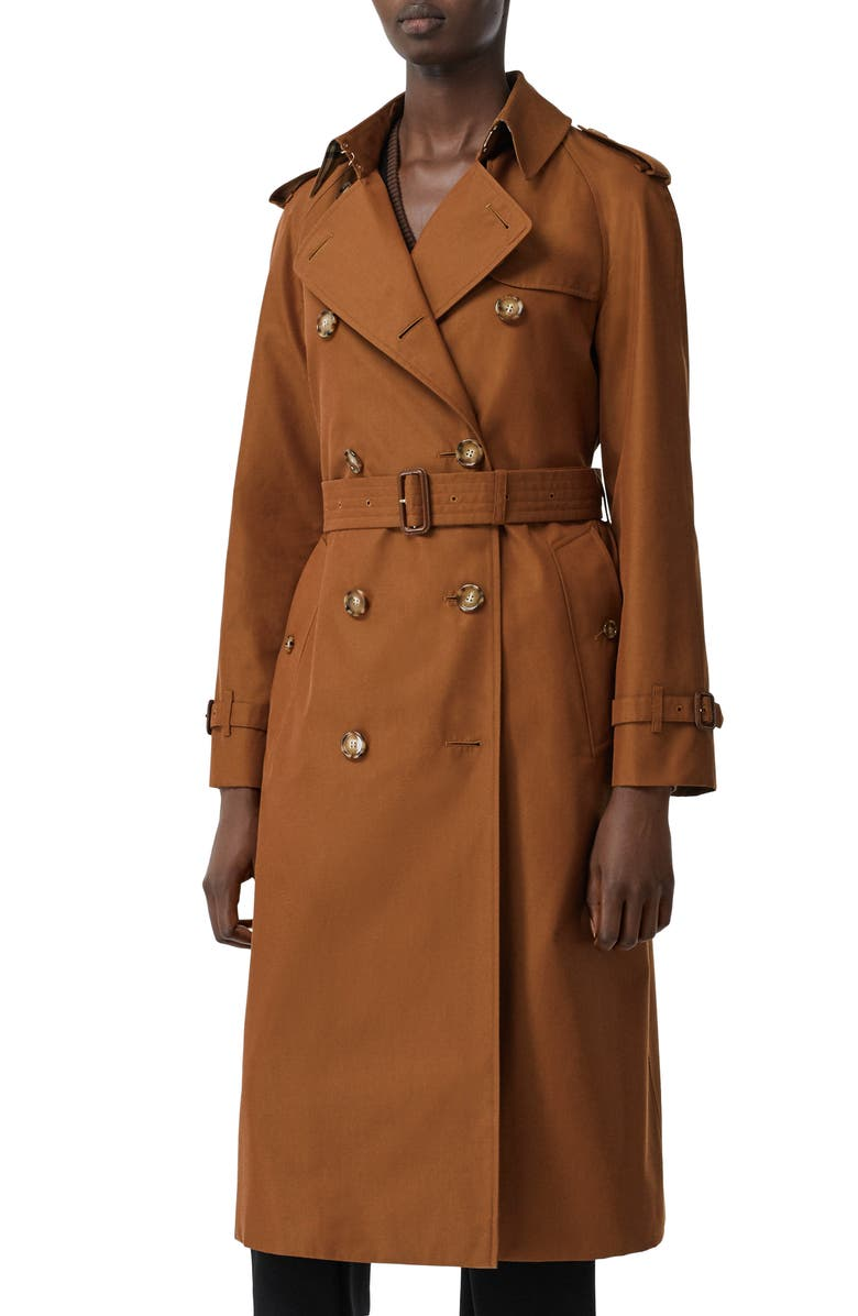 BURBERRY Waterloo Relaxed Fit Cotton Trench Coat, Main, color, CHESTNUT BROWN