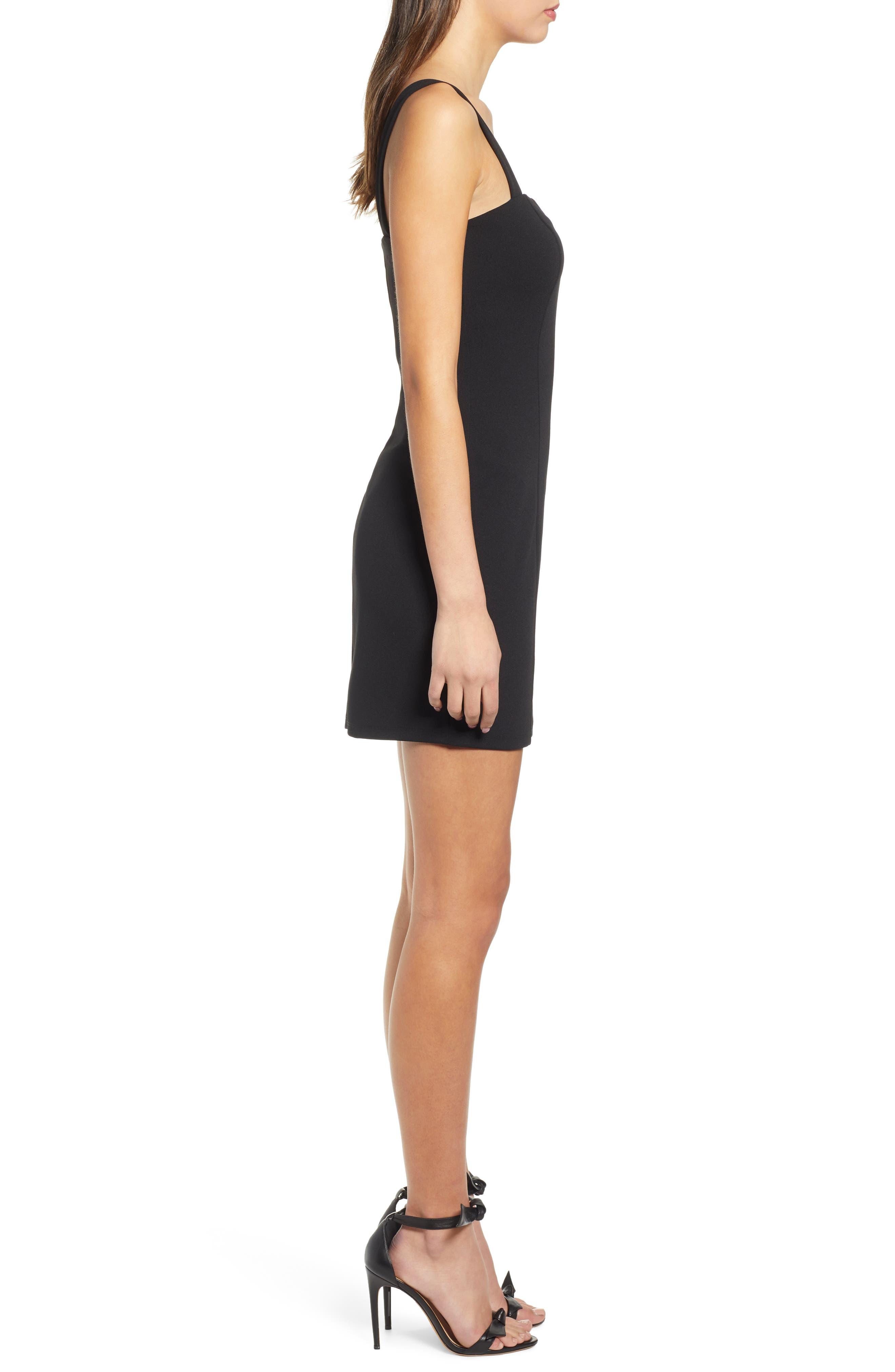 ,                             Seamed Body-Con Dress,                             Alternate thumbnail 4, color,                             BLACK