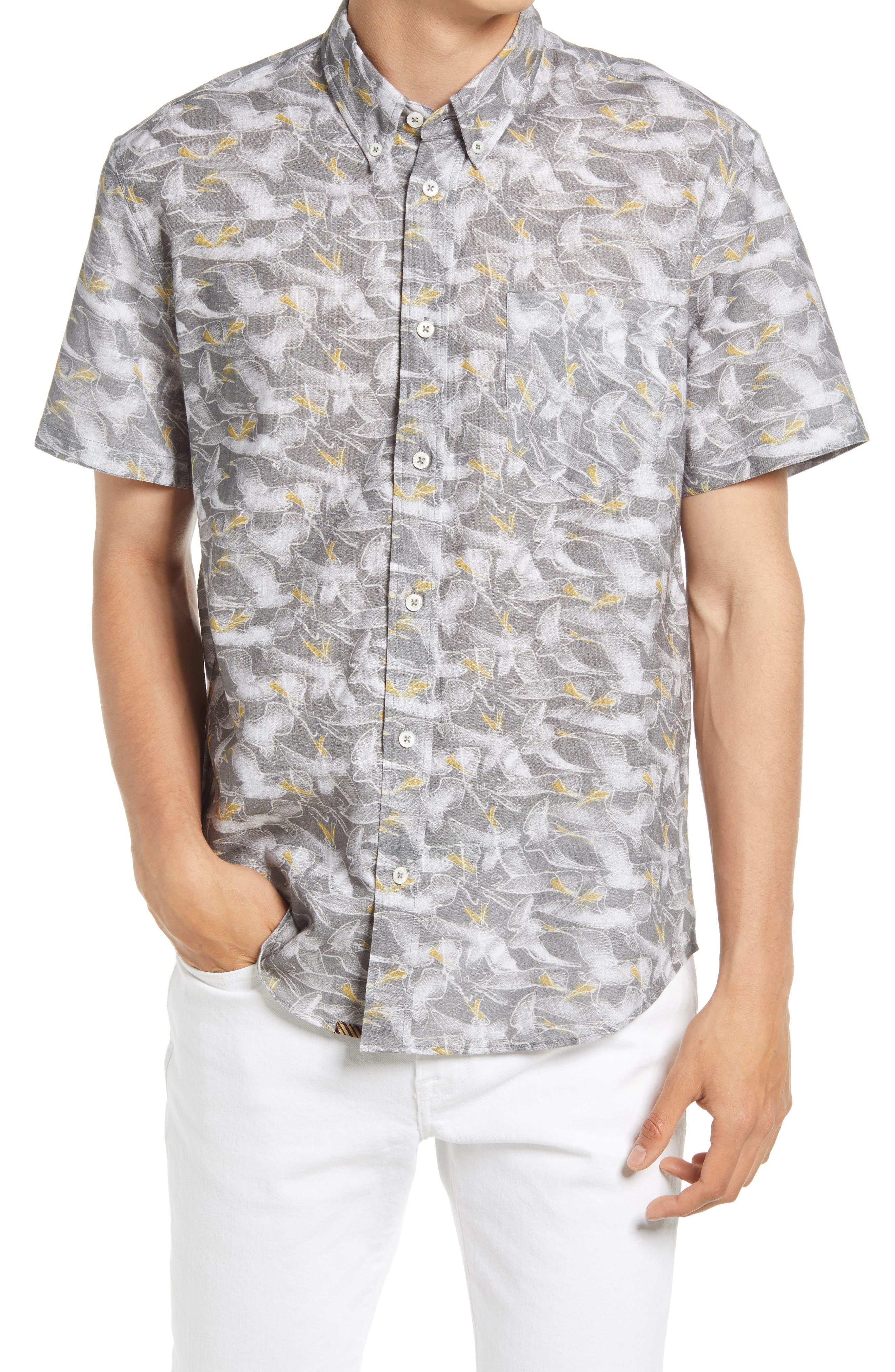 Pelican Sketch Regular Fit Short Sleeve Button-Down Shirt