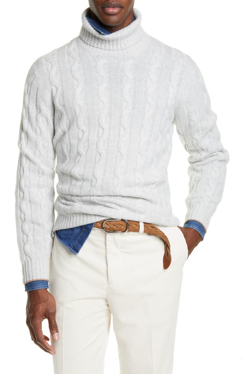 BRUNELLO CUCINELLI Cable Knit Cashmere Turtleneck Sweater, Main, color, FOG