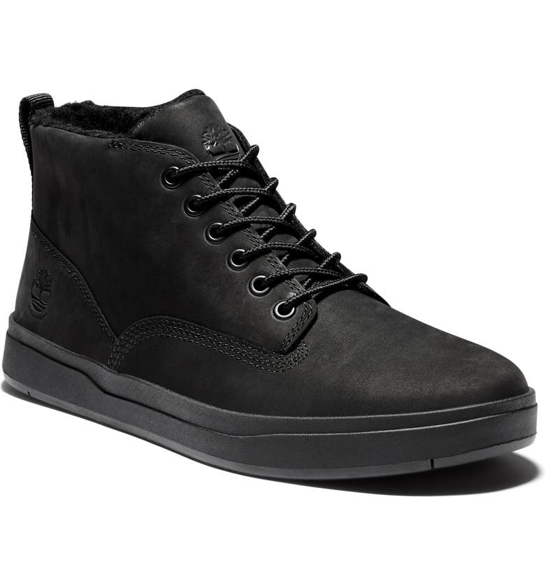 TIMBERLAND Davis Square Mid Top Chukka Sneaker, Main, color, BLACK NUBUCK LEATHER