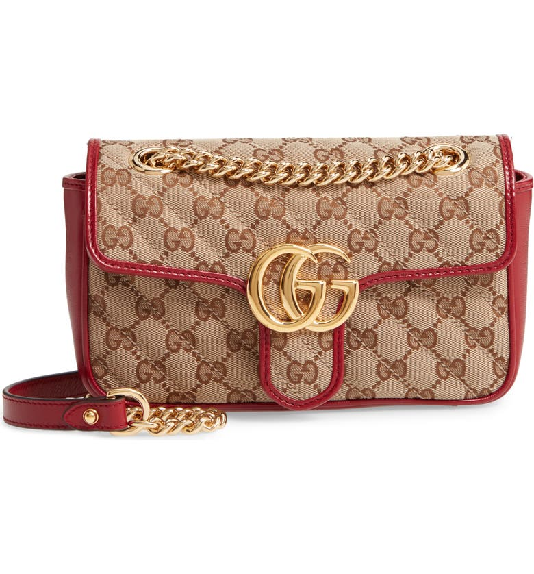 GUCCI Mini GG 2.0 Quilted Shoulder Bag, Main, color, BEIGE EBONY/ NEW CHERRY RED