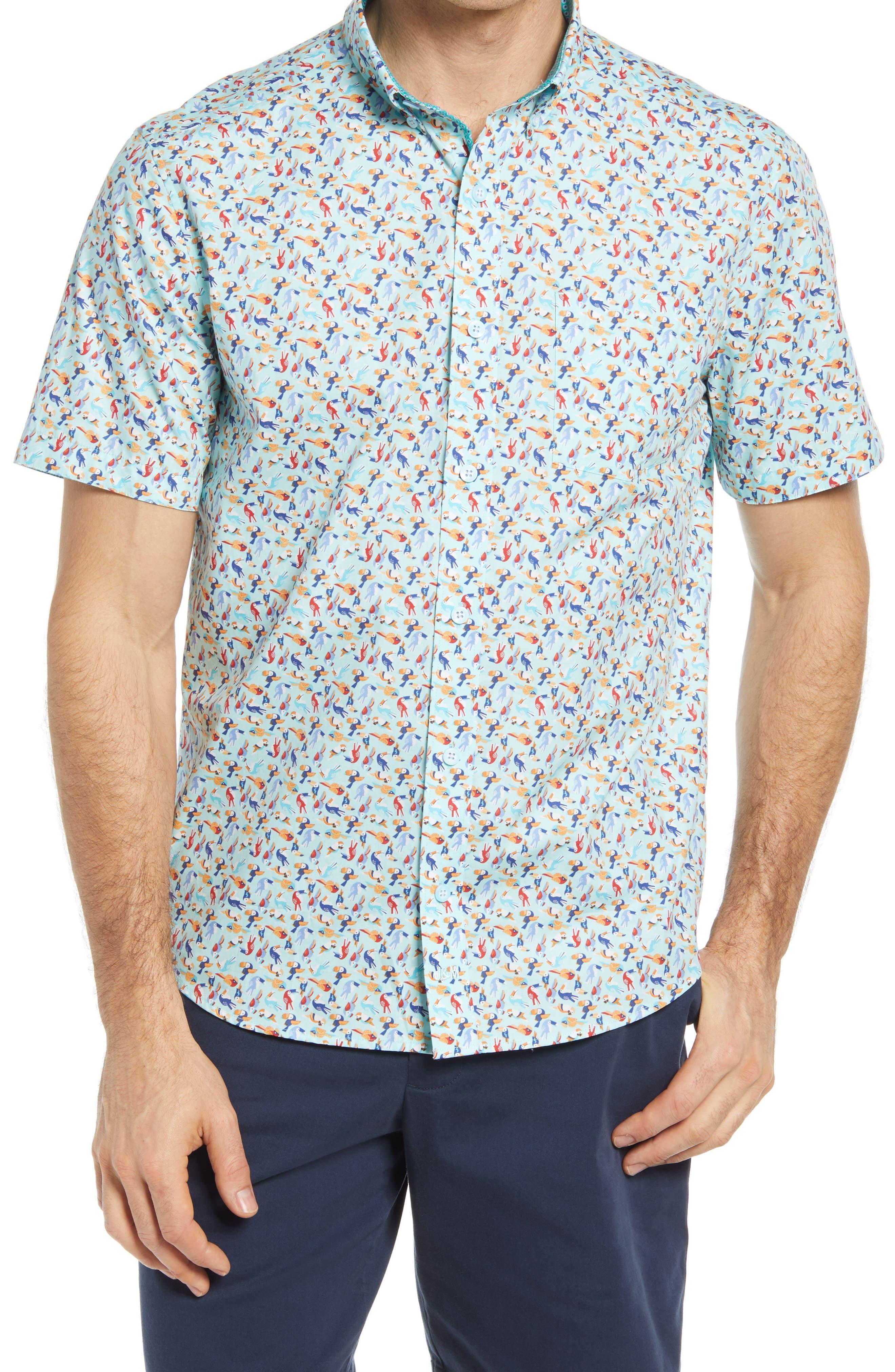Toucan Print Short Sleeve Button-Down Shirt