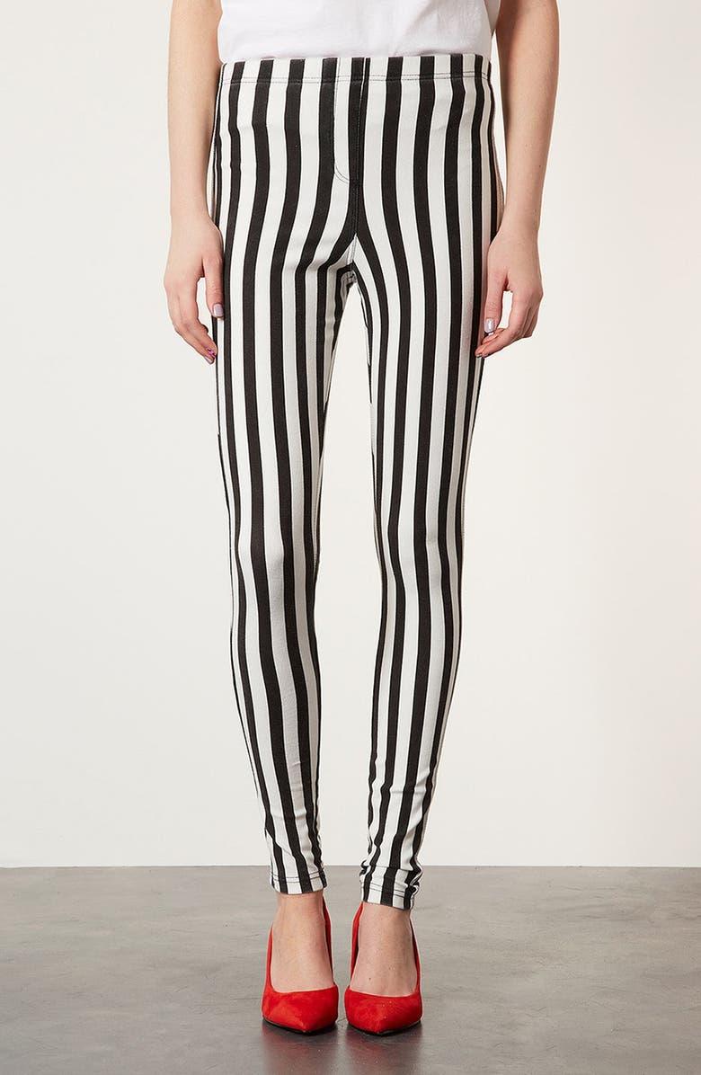 TOPSHOP Mod Stripe Denim Leggings, Main, color, 100