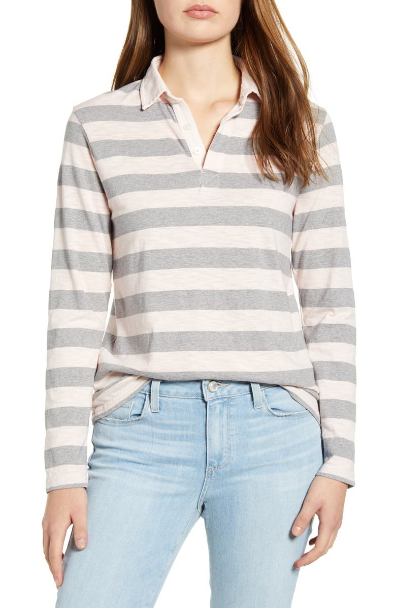 LUCKY BRAND Rugby Stripe Long Sleeve Polo, Main, color, PINK MULTI