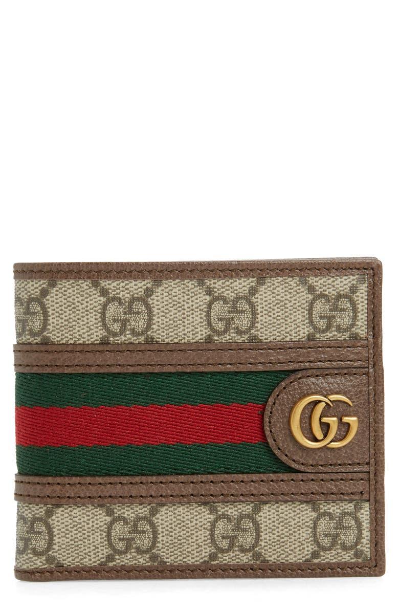 GUCCI GG Supreme Canvas Wallet, Main, color, BROWN