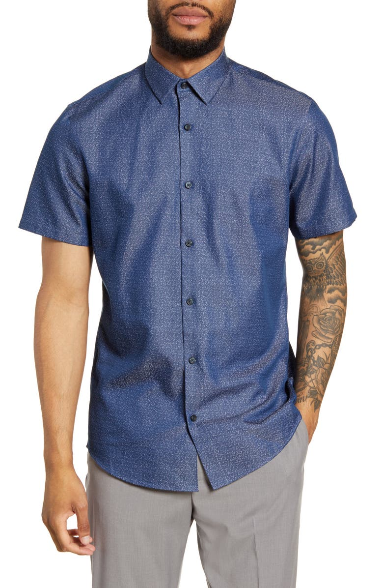CALIBRATE Trim Fit Short Sleeve Button-Up Shirt, Main, color, NAVY TEXTURE DOBBY