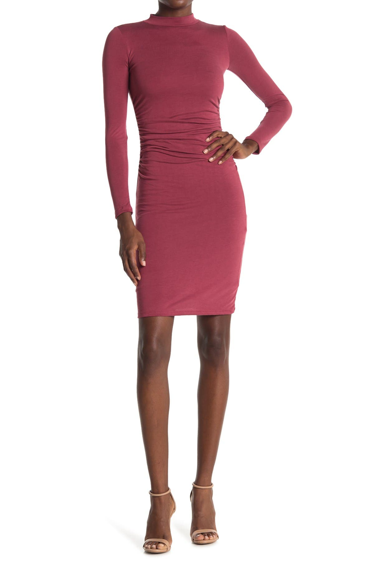 Image of Velvet Torch Long Sleeve Ruched Midi Dress