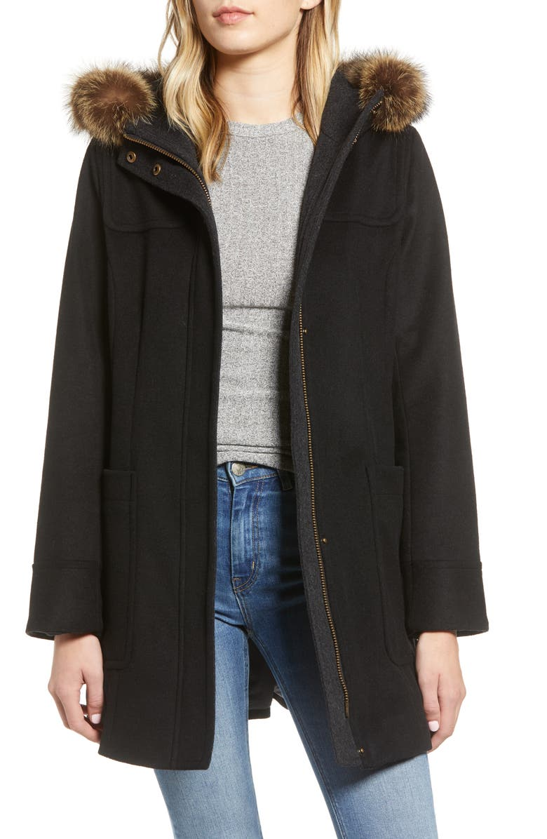 PENDLETON Salem Genuine Raccoon Fur Trim Waterproof Duffle Coat, Main, color, BLACK