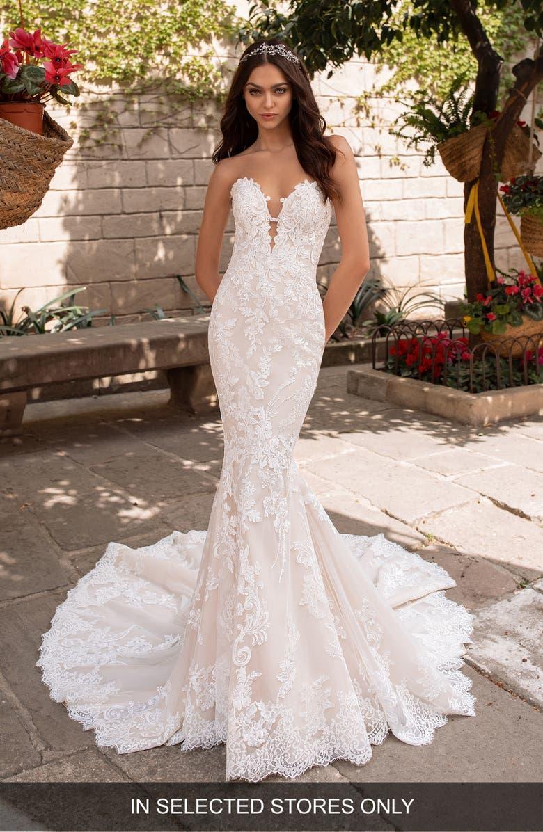 Pronovias Aegir Strapless Lace Mermaid Wedding Dress Nordstrom