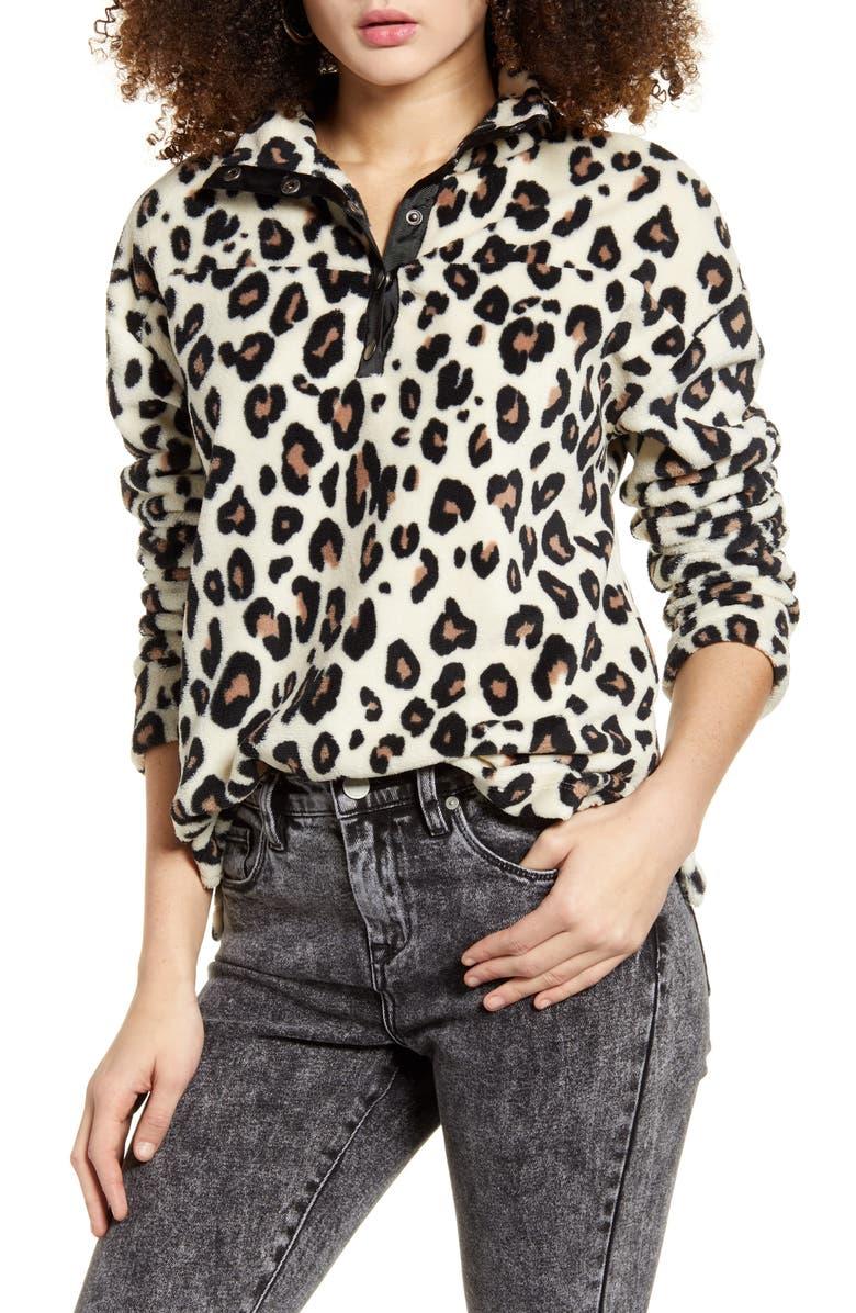 SOCIALITE Faux Fur Pullover, Main, color, LEOPARD