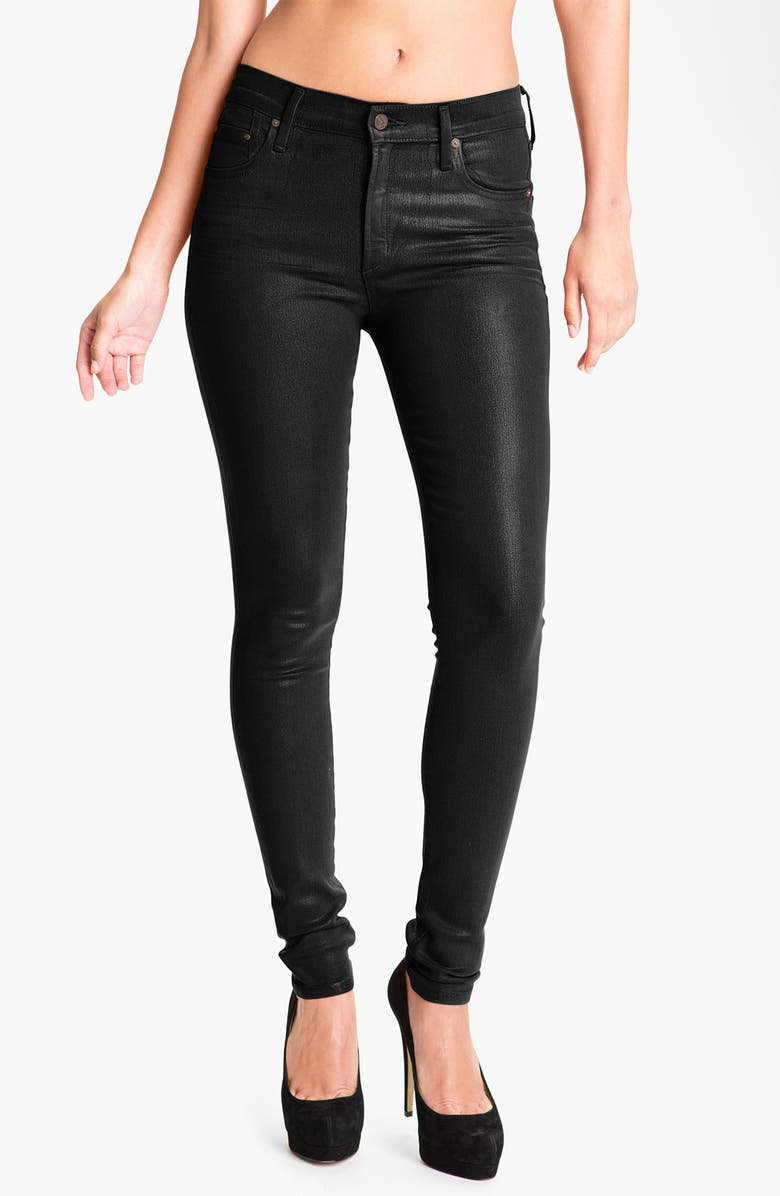 CITIZENS OF HUMANITY 'Rocket' Skinny Leatherette Jeans, Main, color, BLACK