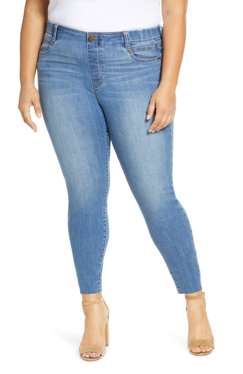 LIVERPOOL Gia Glider Pull-On Cut Hem Crop Skinny Jeans, Main, color, CAPE TOWN