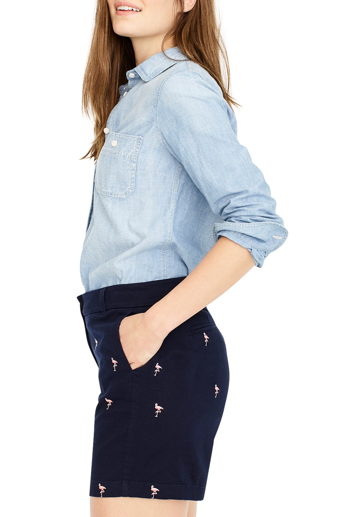 new arrivals newest cheap for sale J.Crew Flamingo Critters 7-Inch Chino Shorts | Nordstrom