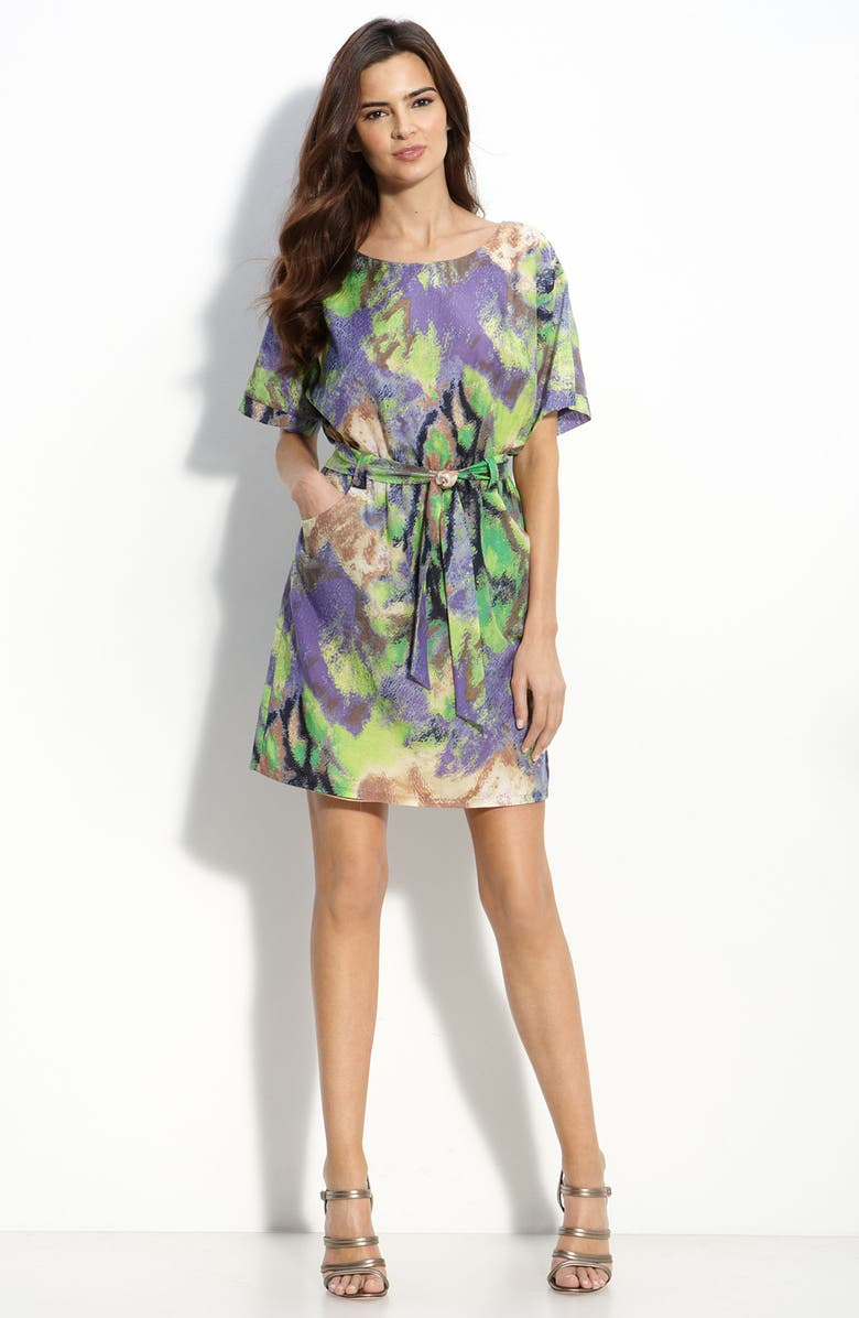 JACK AND GINGER Voile Blouson Dress, Main, color, PURPLE/ GREEN