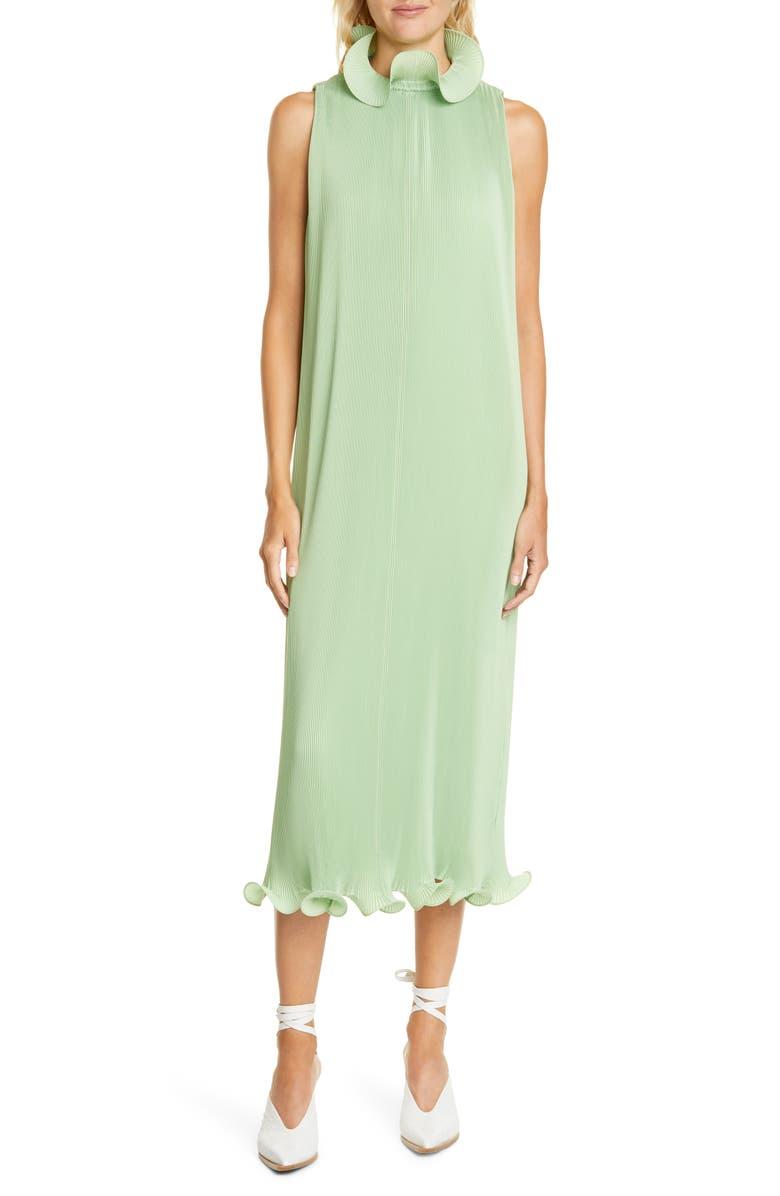 TIBI Ruffle Trim Pleated Midi Dress, Main, color, MINT