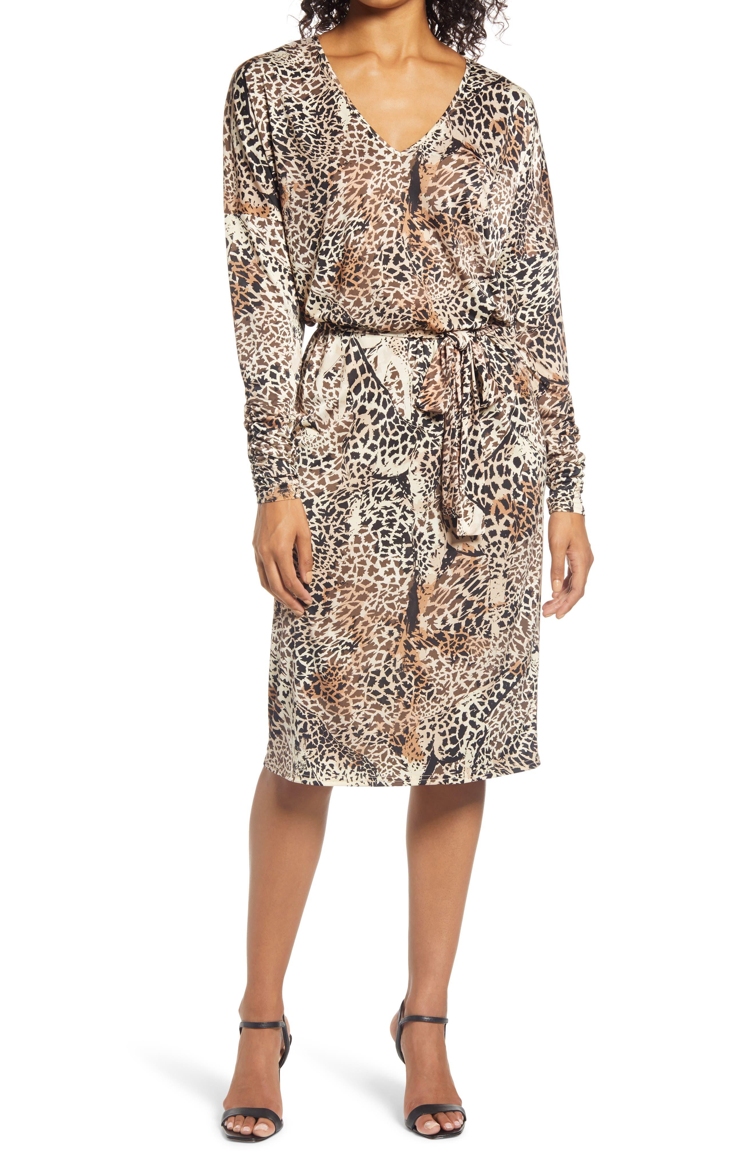 Print Drop Shoulder Long Sleeve Stretch Jersey Dress