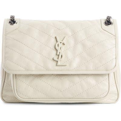 Saint Laurent Medium Niki Leather Shoulder Bag - White