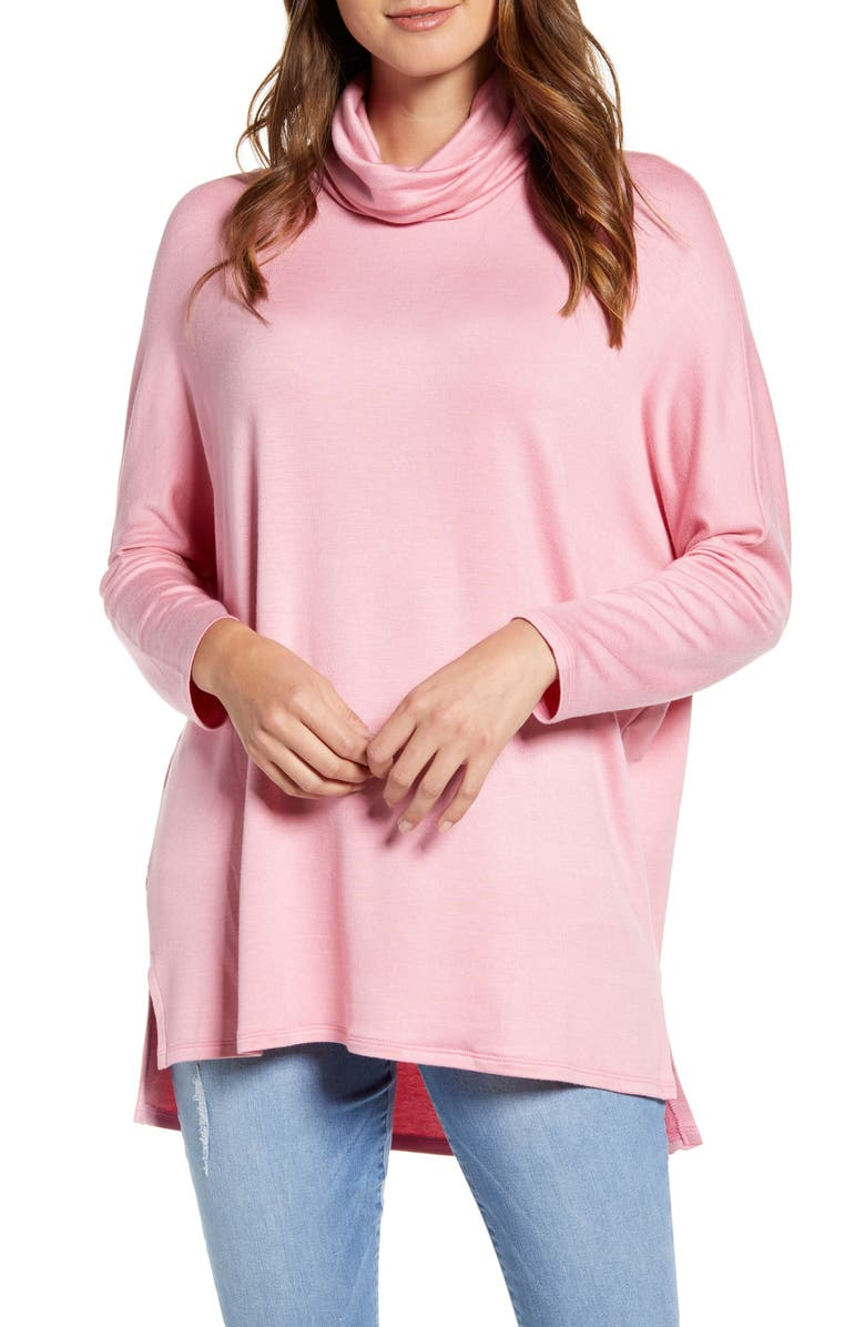 CASLON<SUP>®</SUP> High/Low Tunic, Main, color, PINK ROSEBUD
