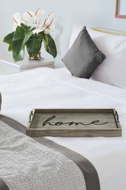 """Image of LALIA HOME Elegant Designs Decorative Wood Serving Tray with Handles - 15.50"""" x 12"""" - """"Home"""""""