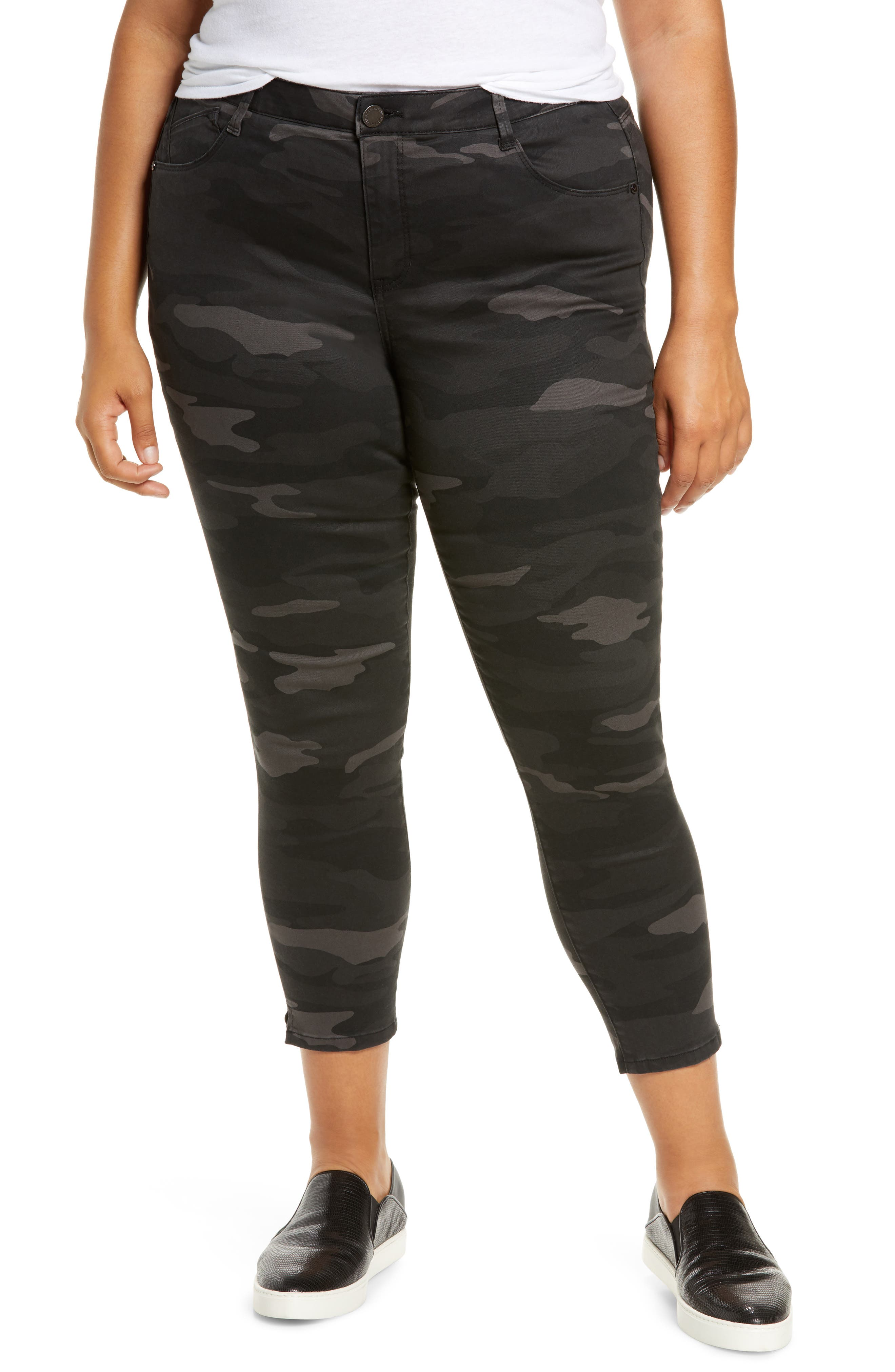 Camo-print skinny pants are cut to flatter with a high waist and Ab-solution power-mesh panels to shape, smooth and lift in all the right places. Style Name: Wit & Wisdom Ab-Solution Camo High Waist Ankle Skinny Pants (Plus Size) (Nordstrom Exclusive). Style Number: 5785709. Available in stores.