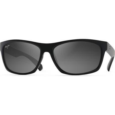 Maui Jim Tumbleland 62Mm Polarized Oversize Sunglasses - Matte Black