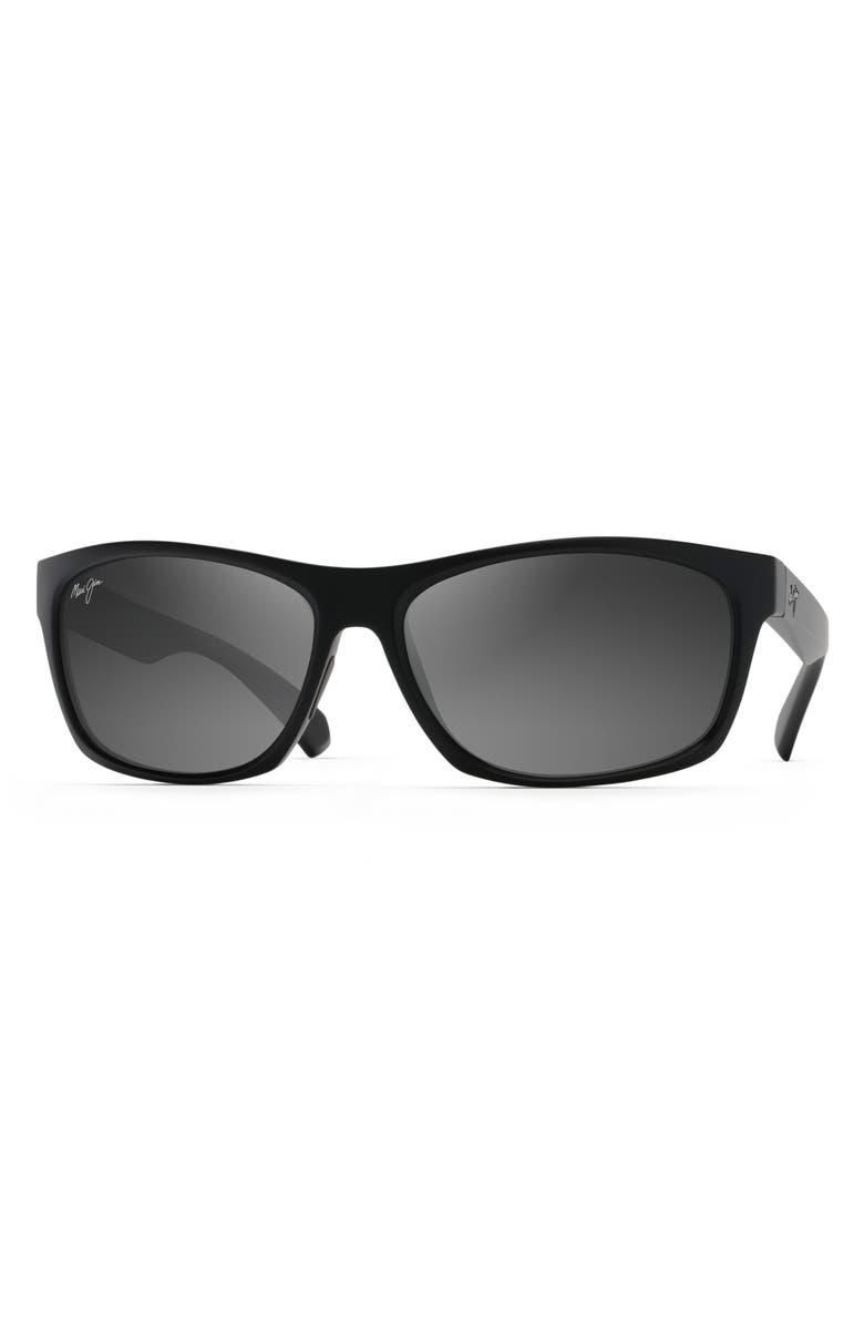 MAUI JIM Tumbleland 62mm Polarized Oversize Sunglasses, Main, color, MATTE BLACK