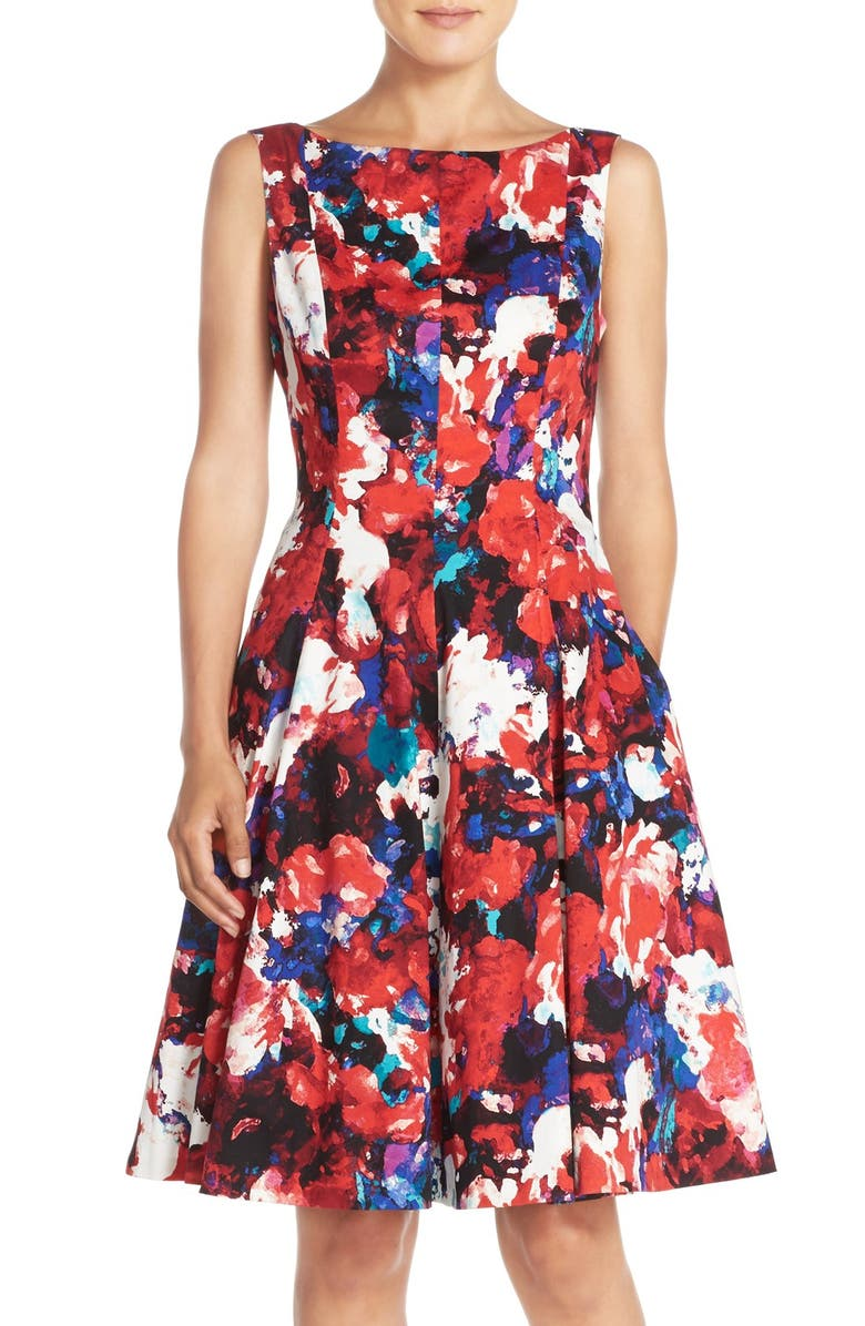 MAGGY LONDON Print Stretch Cotton Sateen Fit & Flare Dress, Main, color, 602