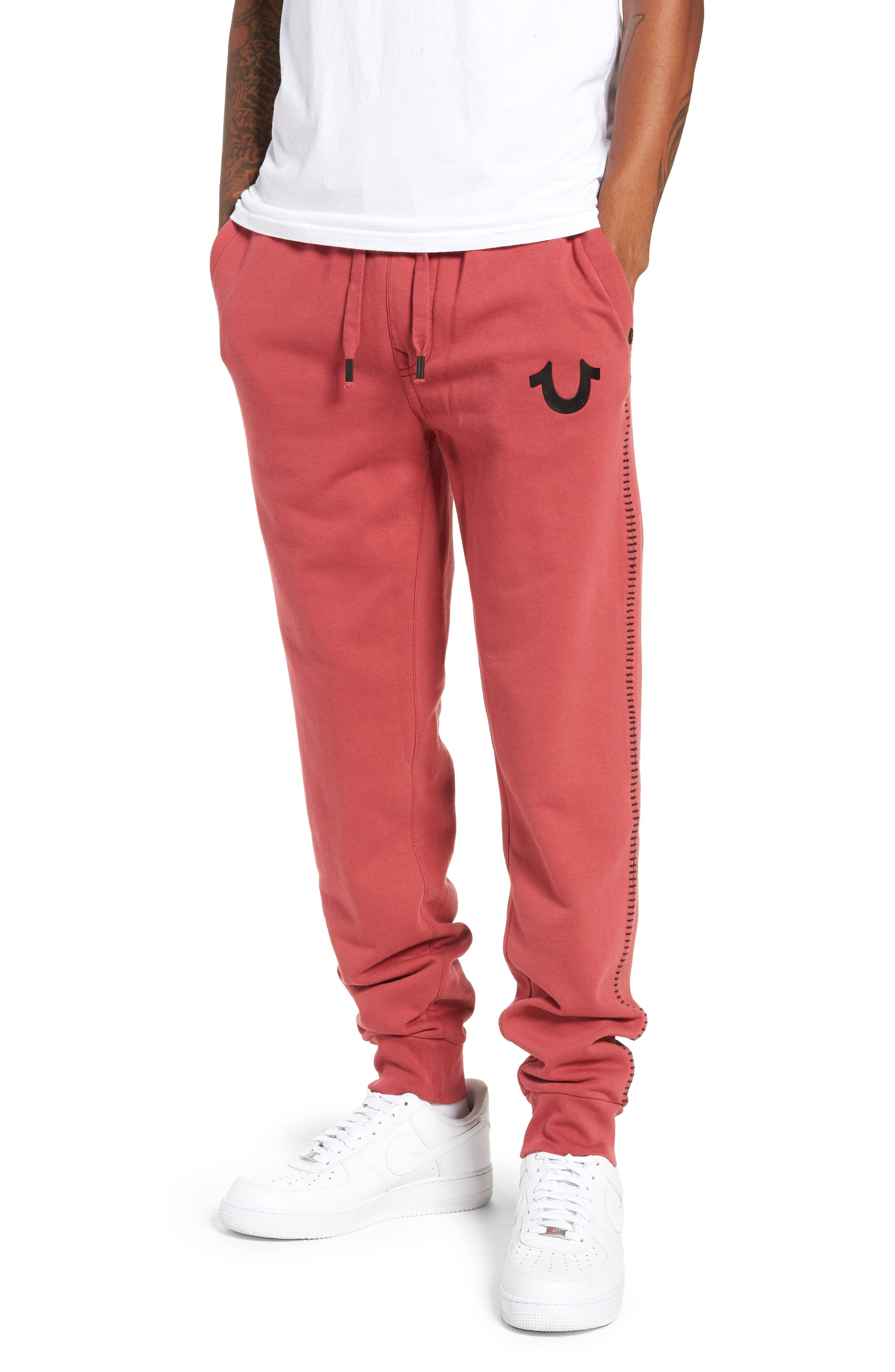 True Religion Brand Jeans Metallic Buddha Slim Fit Sweatpants, Red