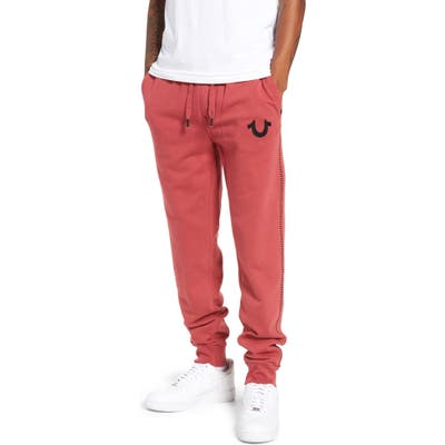 True Religion Brand Jeans Metallic Buddha Slim Fit Sweatpants, Red