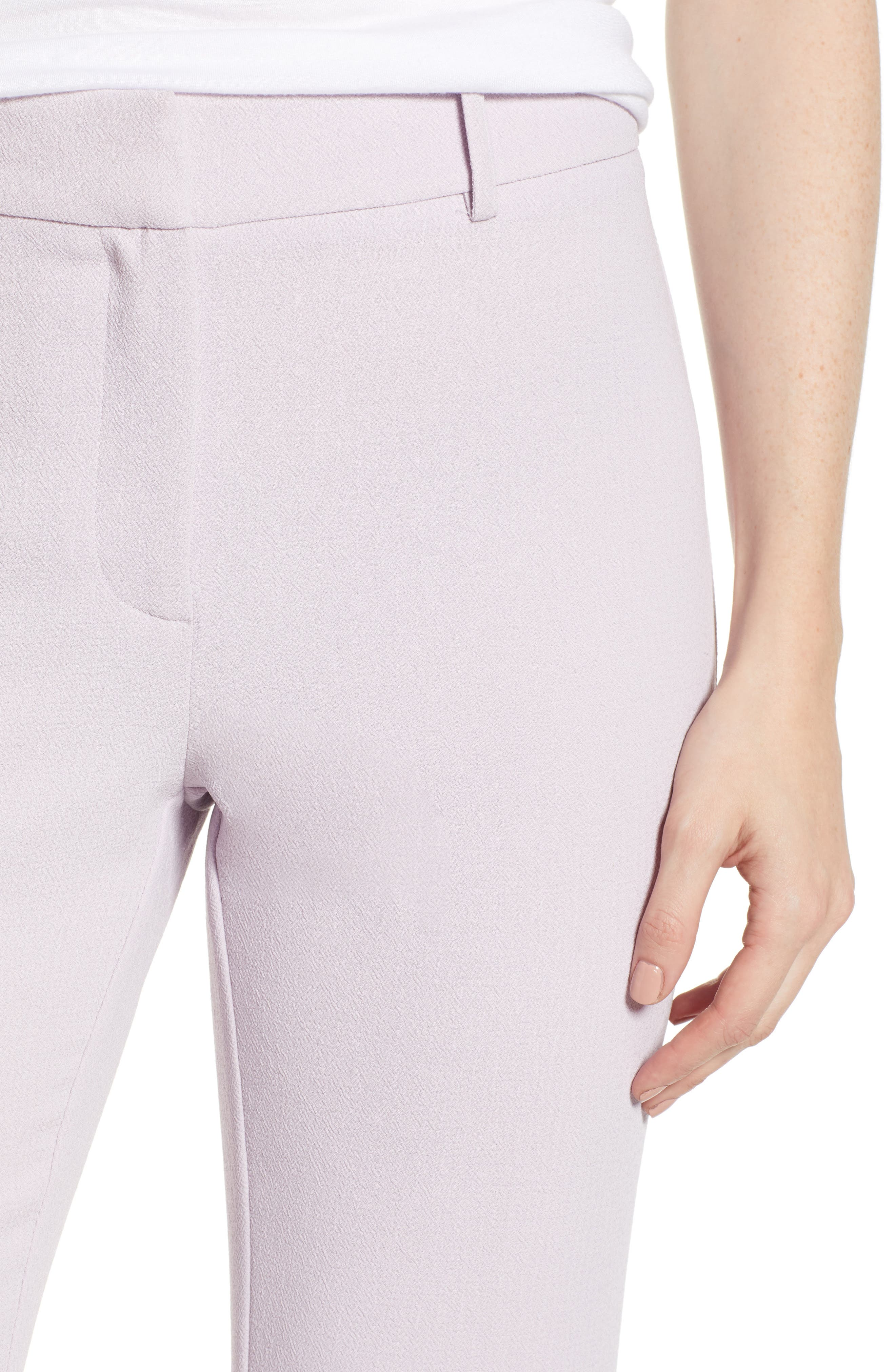 ,                             Crepe Kick Flare Ankle Pants,                             Alternate thumbnail 5, color,                             ORCHID BUD