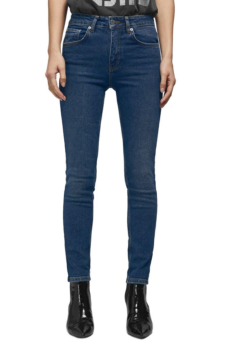 ANINE BING High Waist Skinny Jeans, Main, color, NAVY