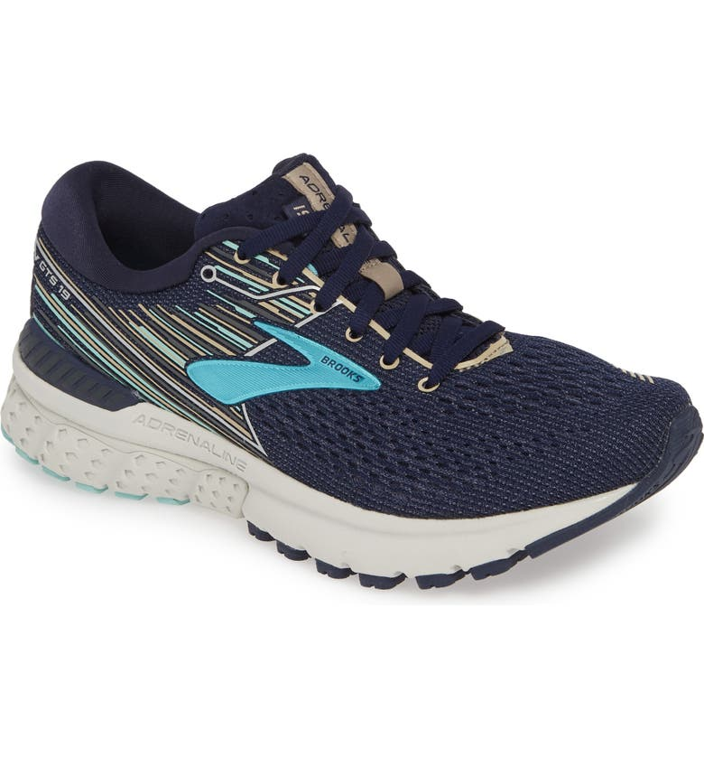BROOKS Adrenaline GTS 19 Running Shoe, Main, color, NAVY/ AQUA/ TAN