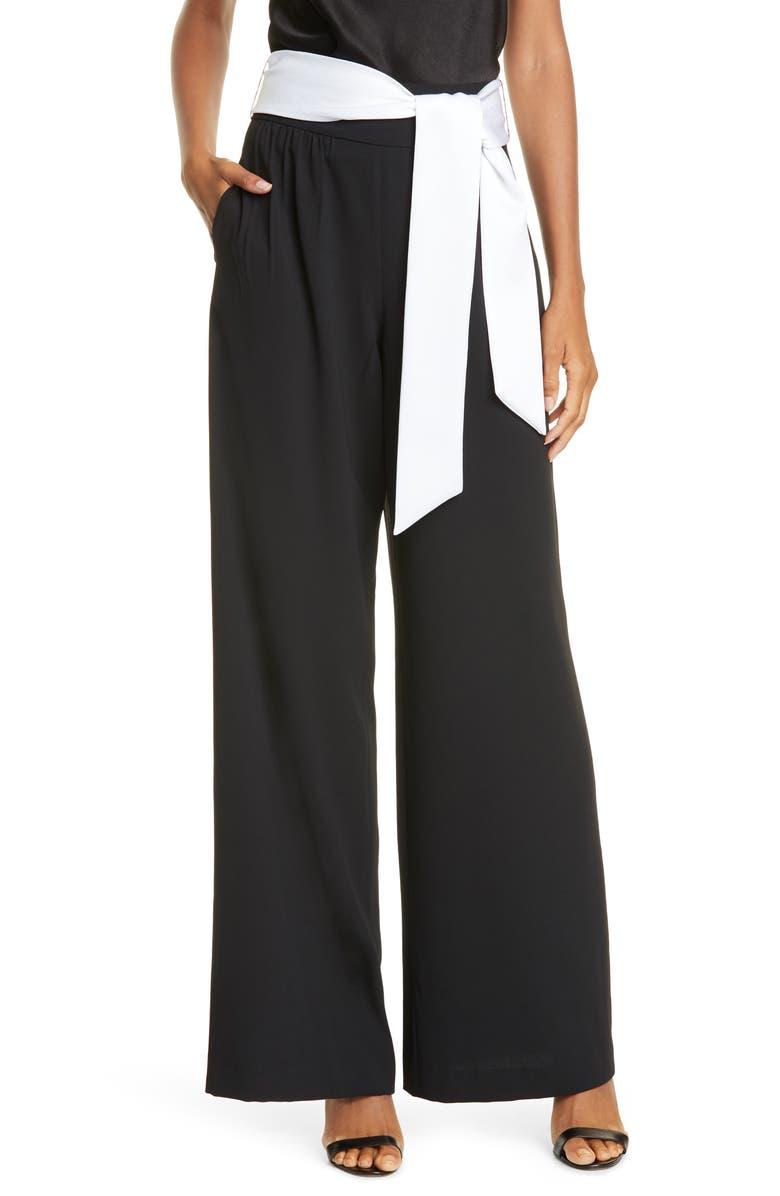 ALICE + OLIVIA Merna High Tie Waist Wide Leg Pants, Main, color, BLACK/ WHITE