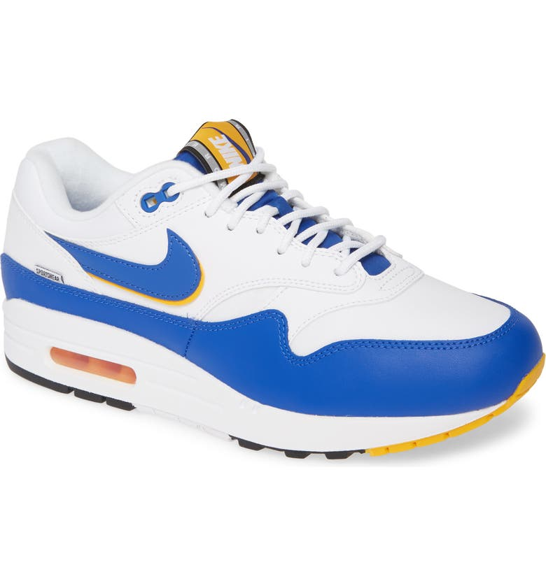 NIKE Air Max 1 SE Sneaker, Main, color, WHITE/ GAME ROYAL/ GOLD