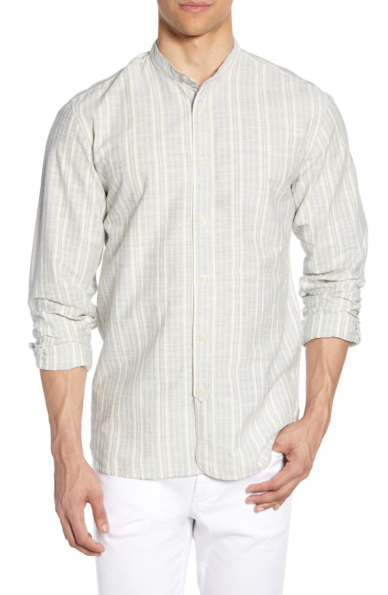 SELECTED HOMME Jace Band Collar Stripe Button-Up Shirt, Main, color, DARK SAPPHIRE STRIPES