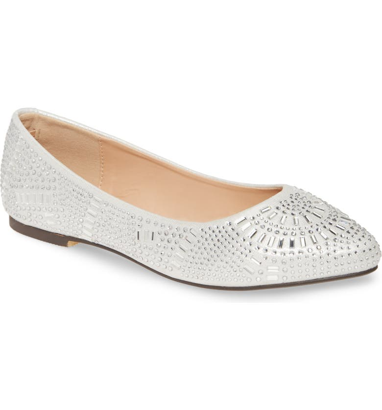 LAUREN LORRAINE Brytney Embellished Flat, Main, color, SILVER FABRIC