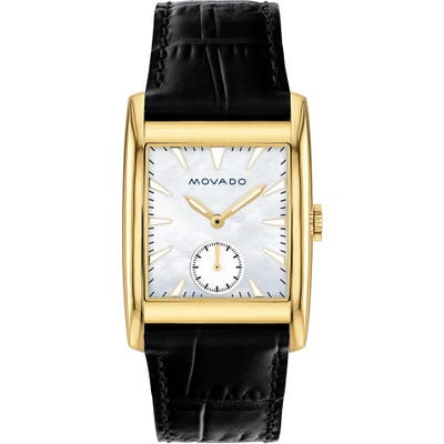 Movado Heritage Leather Strap Watch,